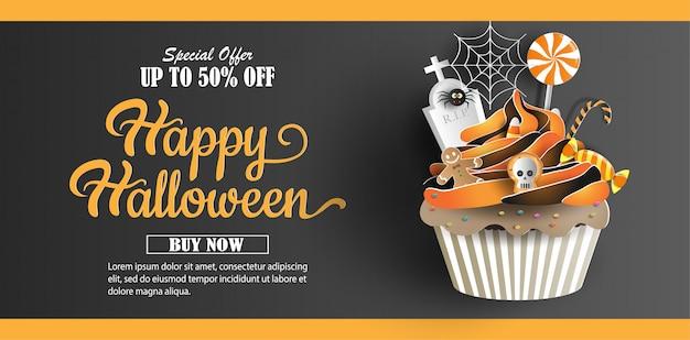 Papel arte e artesanato estilo, cupcake com doces decorações banner