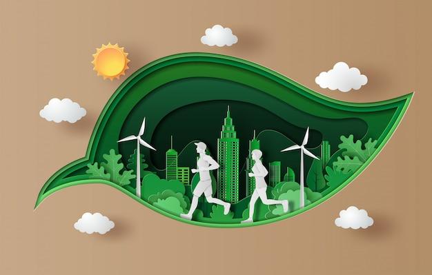 Papel arte estilo de paisagem com pessoas correndo, esporte e atividade.