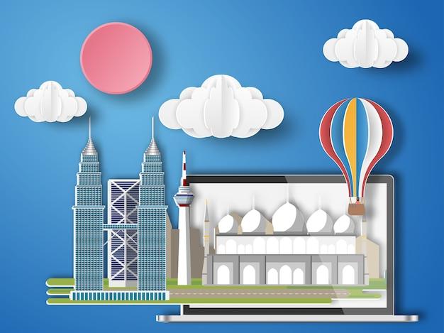 Papel arte malásia infográfico.