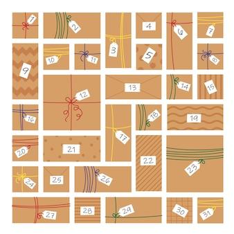 Papel artesanal, calendário do advento do ano novo, 31 dias de dezembro. caixa de presente rústica. decoração ecológica