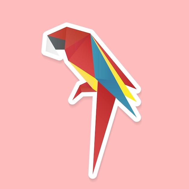 Papel artesanal de vetor de origami colorido de papagaio