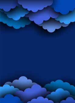 Papel azul cortar nuvens no fundo escuro