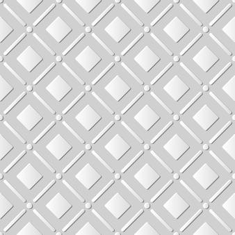 Papel branco 3d padrão sem emenda corte arte canto redondo quadrado verificar linha cruzada