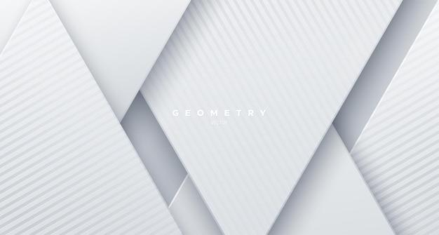 Papel branco abstrato cortado fundo com formas inclinadas