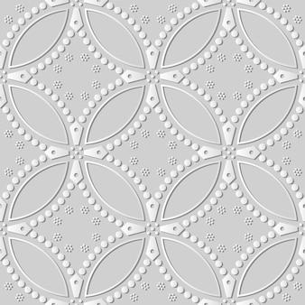 Papel branco arte curva redonda cruz ponto flor, fundo de padrão de decoração elegante para cartão de banner da web