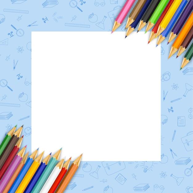 Papel branco com lápis de cor