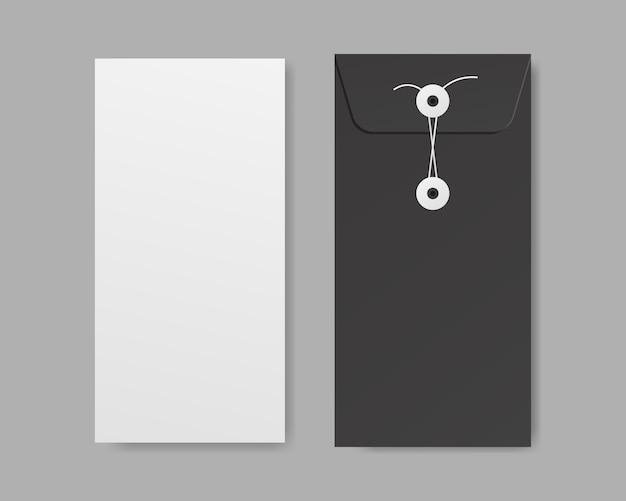 Papel branco em branco com maquete de envelope. modelo de design. ilustração realista.