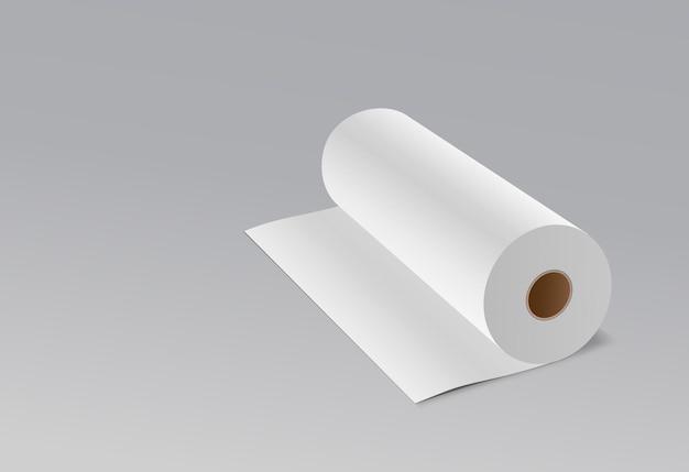 Papel branco em rolo de tecido longo.