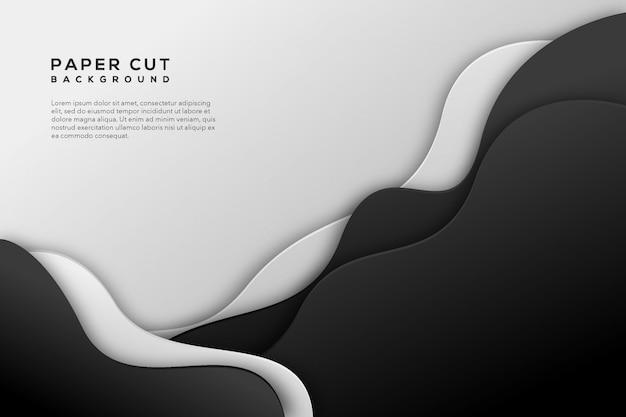 Papel branco preto cortado abstrato