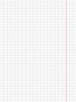 Papel branco quadriculado com fundo de margem, ilustração vetorial realista