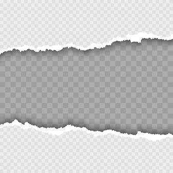 Papel branco rasgado com sombra