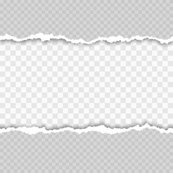 Papel branco rasgado sem costura horizontal com sombra