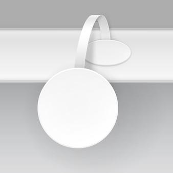 Papel branco redondo em branco publicidade oscilante de preço de plástico no fundo Vetor Premium