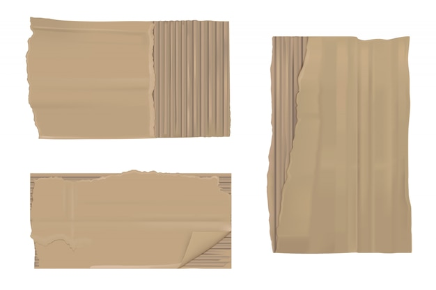 Papel cartão rasgado. folhas rasgadas marrons