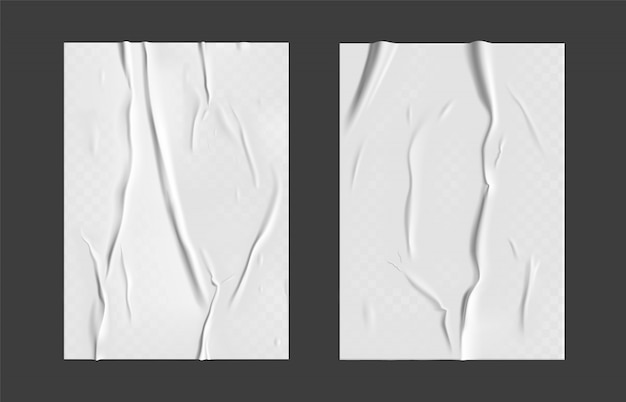 Papel colado com efeito molhado transparente enrugado em fundo cinza. modelo de cartaz de papel molhado branco conjunto com textura amassada. cartazes realistas