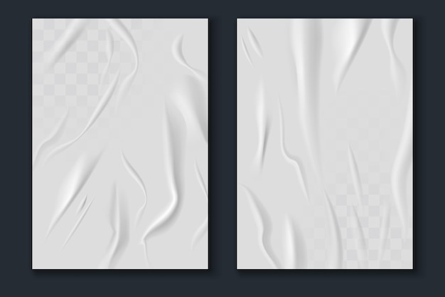Papel colado. folhas de papel branco amassadas e amarrotadas realistas, maquete de textura de pôster amassada, modelos de folheto de rua de publicidade