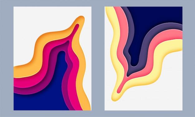 Papel colorido brilhante em camadas conjunto de design abstrato