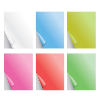 Papel colorido dobrado realista ilustração vetorial de sombra