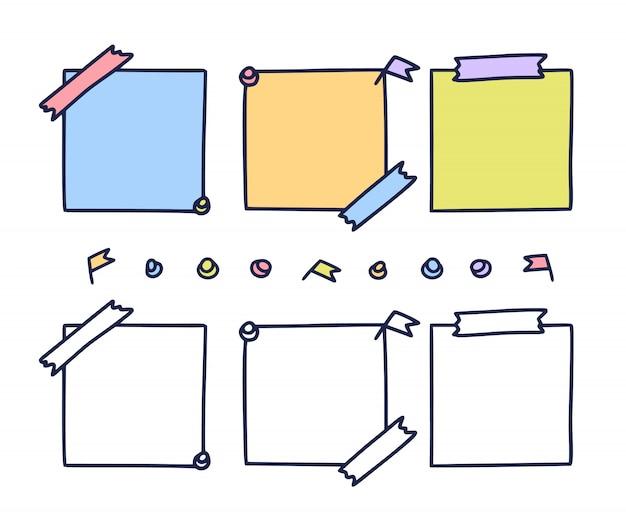 Papel colorido mão desenhada. conjunto de folhas de papel