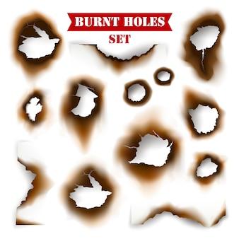 Papel com fundo de buracos queimados