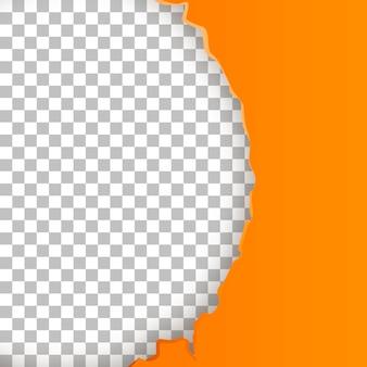 Papel com rasgado um semicírculo