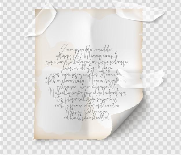 Papel com texto e ilustração em fita