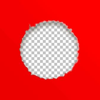 Papel com um círculo rasgado