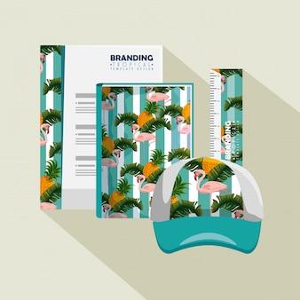 Papel comercial com estilo tropical e boné com notebook