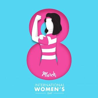 Papel cortado 8 número de março com mulher mais forte sem rosto sobre fundo azul para o dia internacional da mulher.