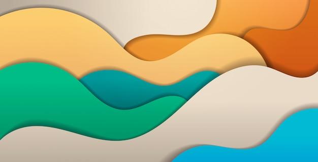 Papel cortado composição abstrato com ondas coloridas, escultura arte conceito layout ondulado para apresentação do panfleto ou cartaz horizontal