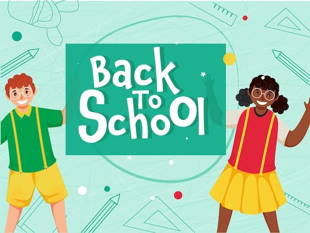 Papel cortado de volta ao texto escolar com estudante alegre menino e personagem de menina em fundo de elementos de educação verde.