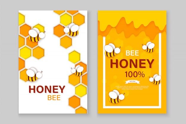 Papel cortado estilo abelha com favos de mel. modelo de design para produtos de apicultura e mel.