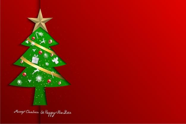 Papel cortado estilo árvore de natal verde sobre fundo vermelho