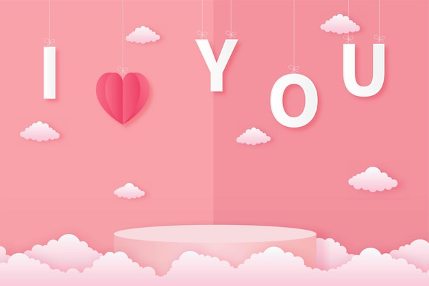 Papel cortado feliz dia dos namorados conceito. paisagem com texto eu te amo e forma de coração e pódio de forma de geometria no estilo de arte de papel de fundo de céu rosa.