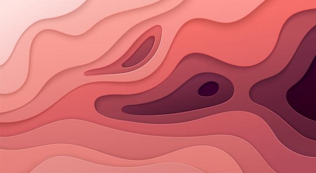 Papel cortado fundo. decoração de papel realista abstrata para design texturizado com camadas rosa onduladas de papelão. 3d