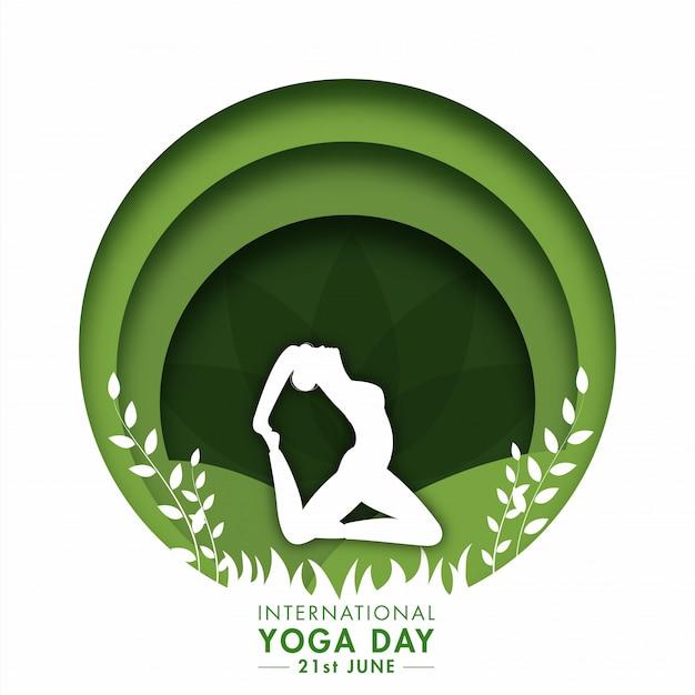 Papel cortado fundo do círculo com silhueta praticando yoga no rei pigeon pose para junho, dia internacional da ioga.