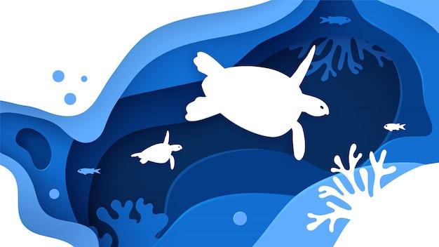 Papel cortado fundo do mar com tartarugas, ondas, peixes e recifes de coral.