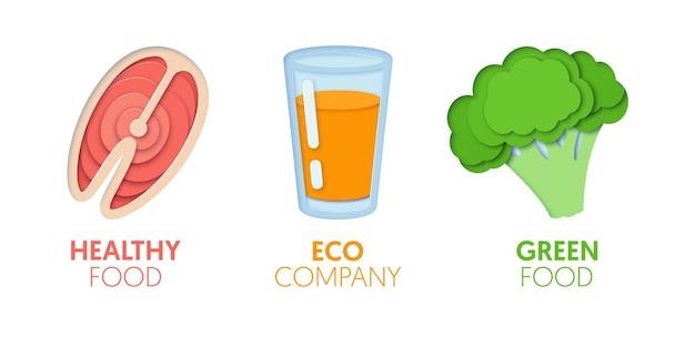 Papel cortado logotipo modelo definido com eco green food. símbolos de alimentação saudável de origami para branding, folheto, identidade. ilustração vetorial