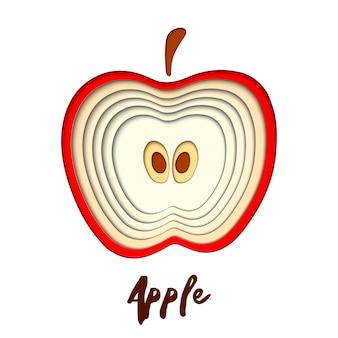 Papel cortado maçã vermelha, cortar formas.