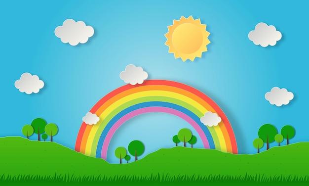 Papel cortado paisagem natureza verde com arco-íris