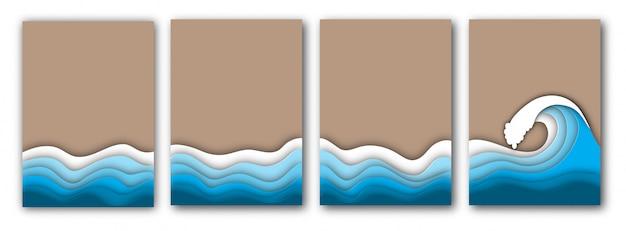 Papel cortado praia de verão com ondas do mar ou oceano e conjunto de folhetos de areia
