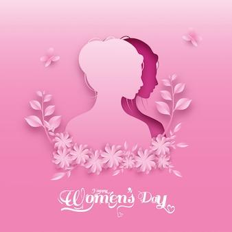 Papel cortado rosto feminino com flores, folhas e borboletas em fundo rosa para o dia da mulher feliz.