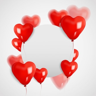 Papel da placa do círculo do espaço branco com o balão do coração 3d, dia dos namorados. ilustrador vetorial