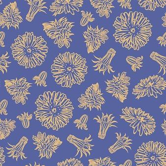 Papel dandelion planta padrão sem emenda ilustração vetorial