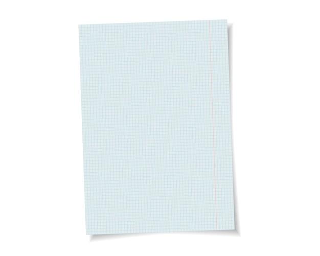 Papel de caderno escolar de vetor com sombra realista. página em branco branca isolada no fundo. modelo de simulação.