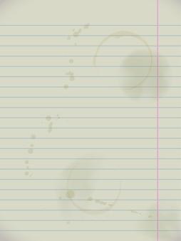 Papel de caderno sujo de grunge. página alinhada com manchas, ilustração vetorial realista