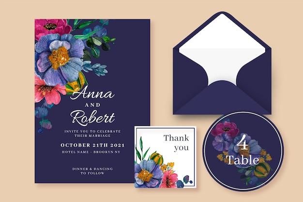Papel de carta botânico de casamento em aquarela Vetor Premium