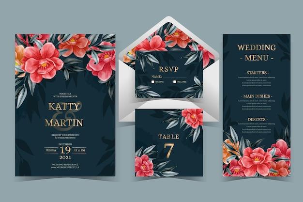 Papel de carta botânico de casamento em aquarela