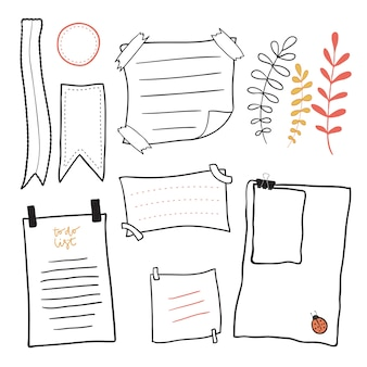 Papel de carta do doodle. documentos desenhados a mão conjunto de vetores de notas adesivas