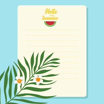 Papel de carta em branco de fundo de verão